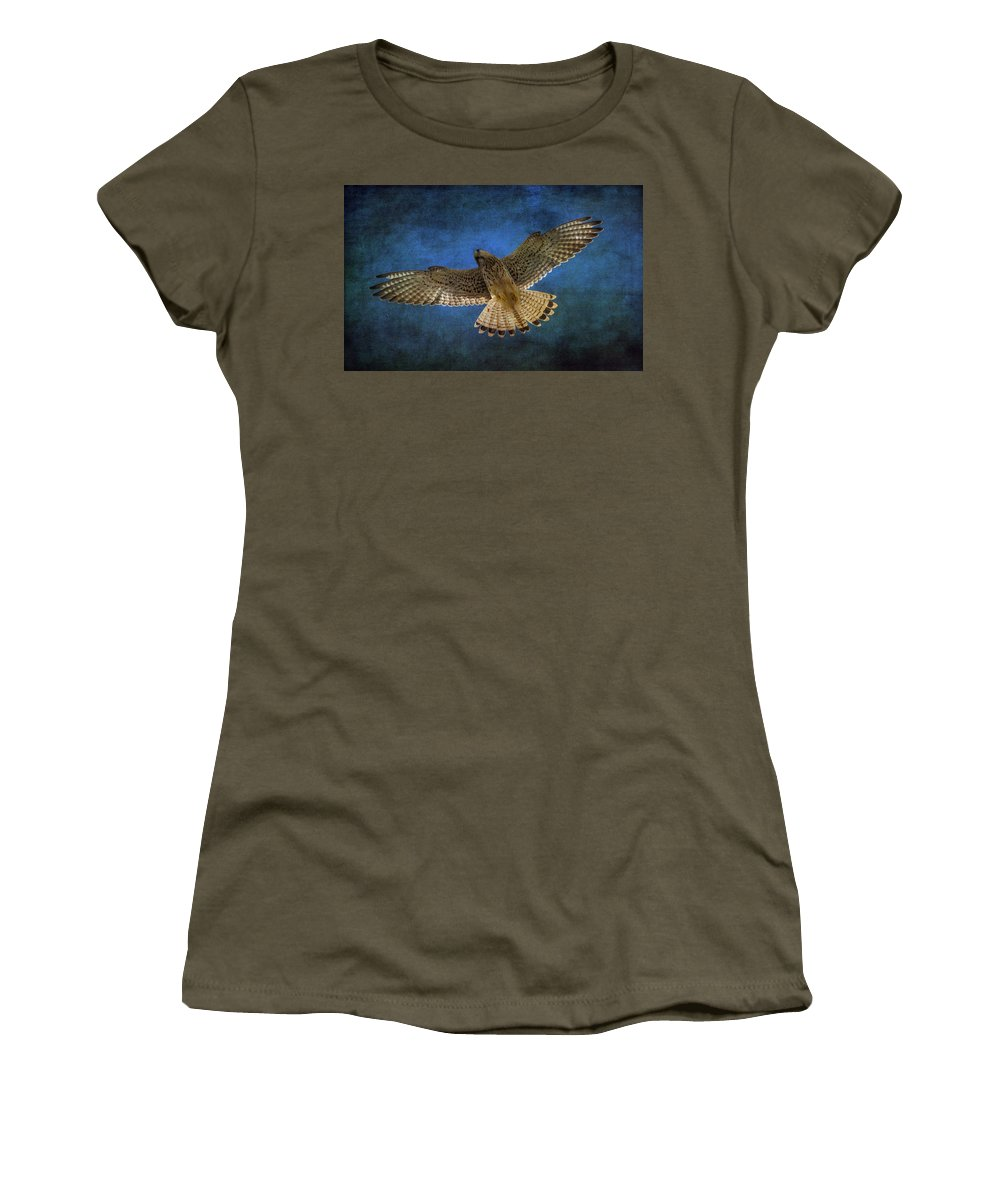 Kestrel Women's T-Shirt featuring the photograph Kestrel by Chris Smith