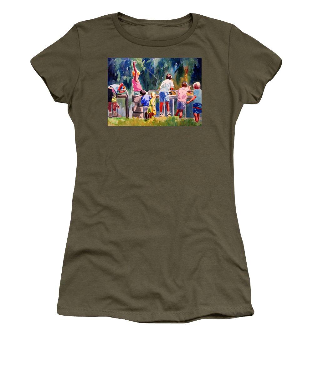 Art Women's T-Shirt featuring the painting Kids Fishing by Julianne Felton
