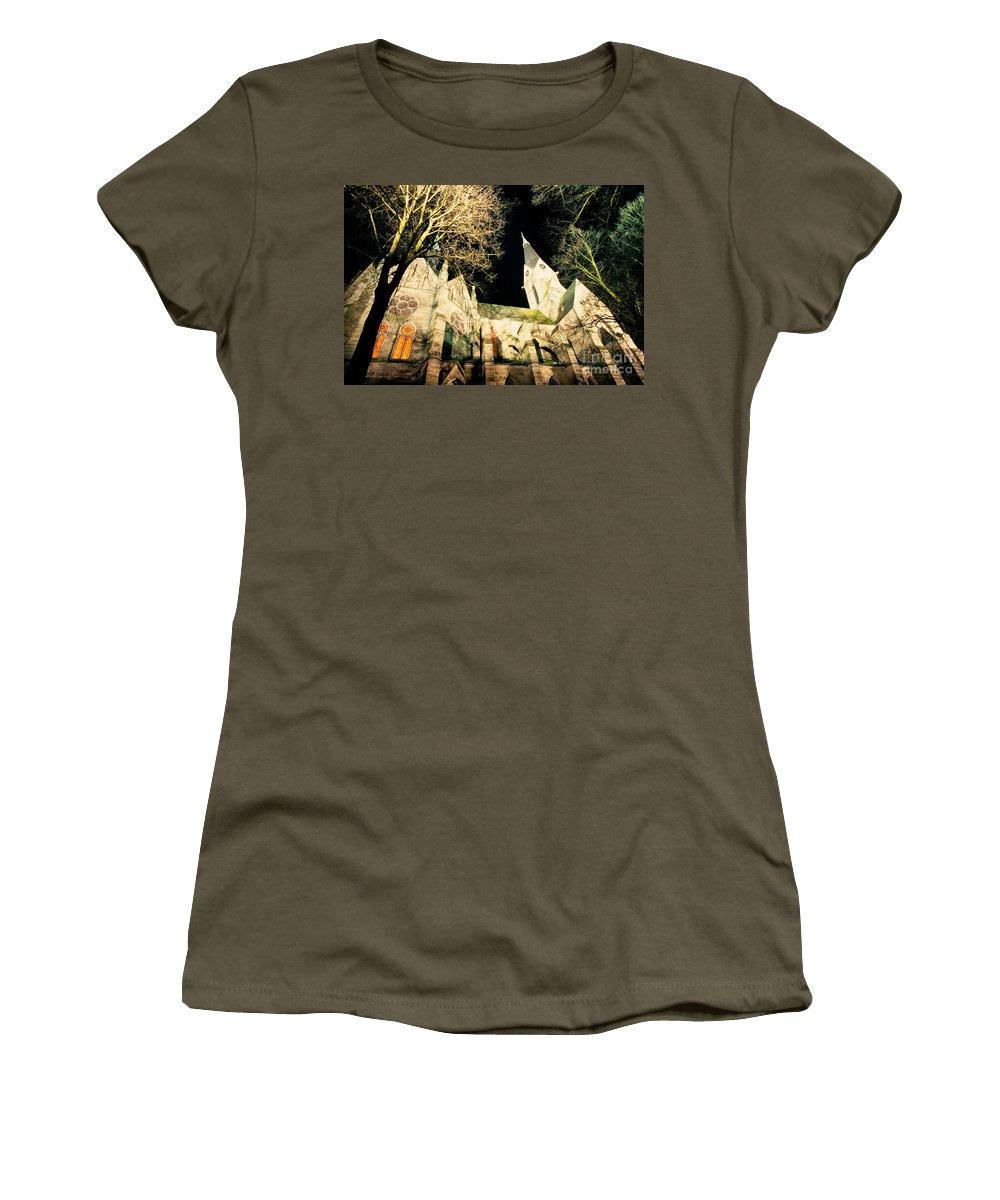 Architecture Women's T-Shirt featuring the photograph Large Stone Church At Night by Stephan Pietzko
