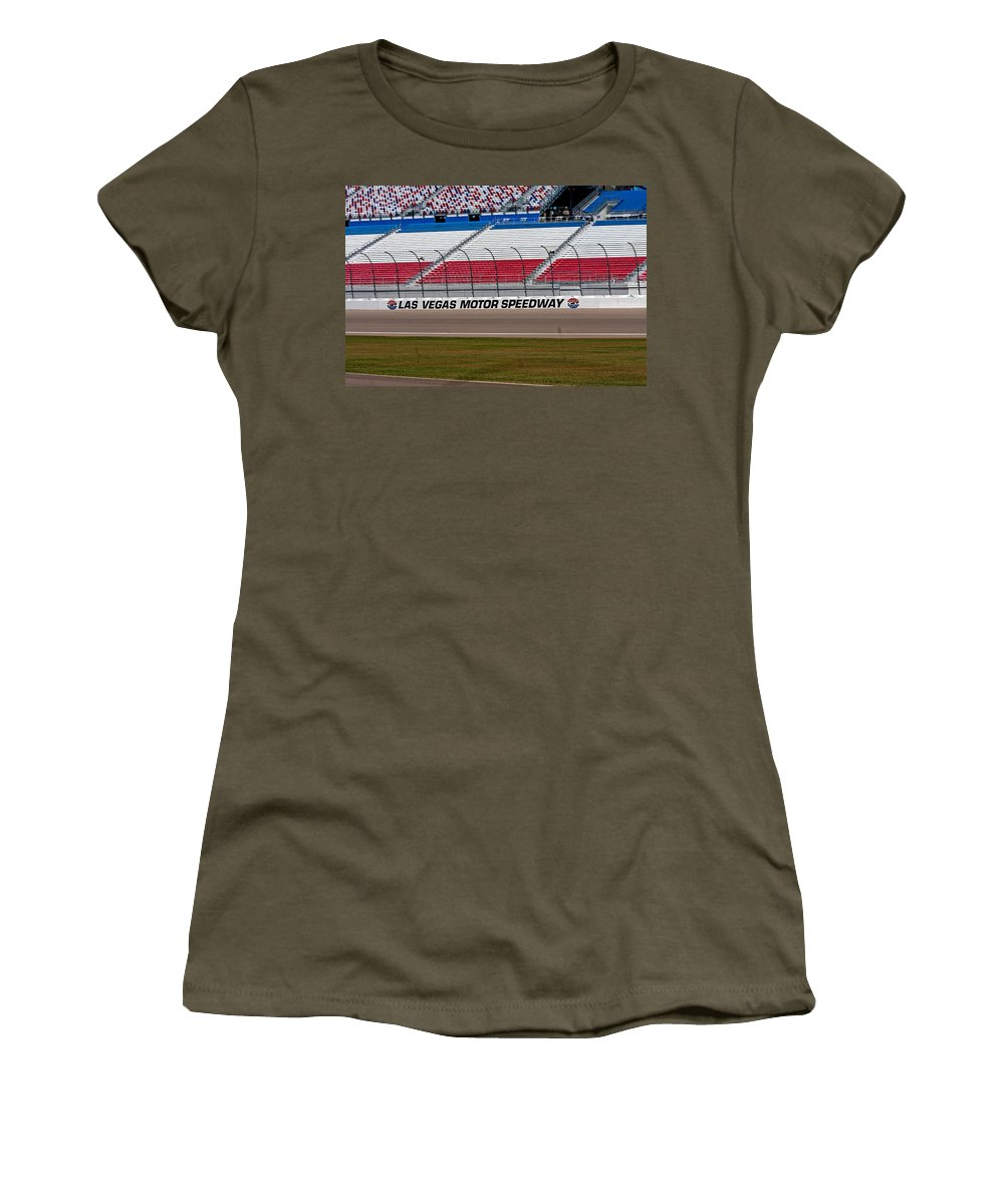 Bleachers Women's T-Shirt featuring the photograph Las Vegas Speedway Grandstands by Gunter Nezhoda