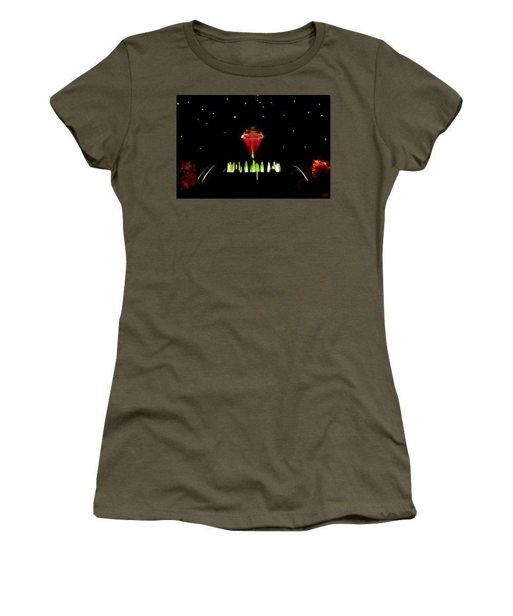 Water Women's T-Shirt featuring the painting Magical Fountain by Bruce Nutting