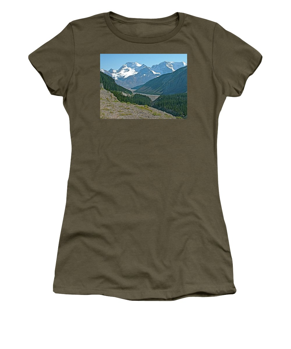 Mountain Peaks From Icefields Parkway In Alberta Women's T-Shirt featuring the photograph Mountain Peaks From Icefields Parkway-alberta by Ruth Hager