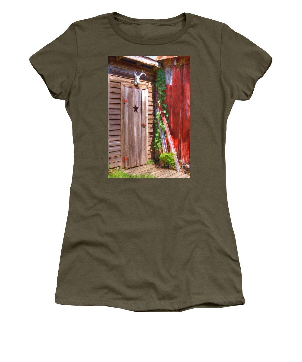 Old Wooden Door Women's T-Shirt featuring the photograph Old Wooden Door by Liane Wright