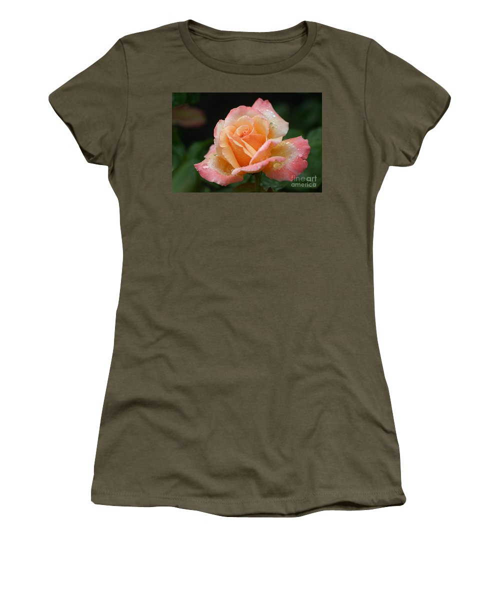 Rose Women's T-Shirt featuring the photograph Peaches And Cream by Living Color Photography Lorraine Lynch