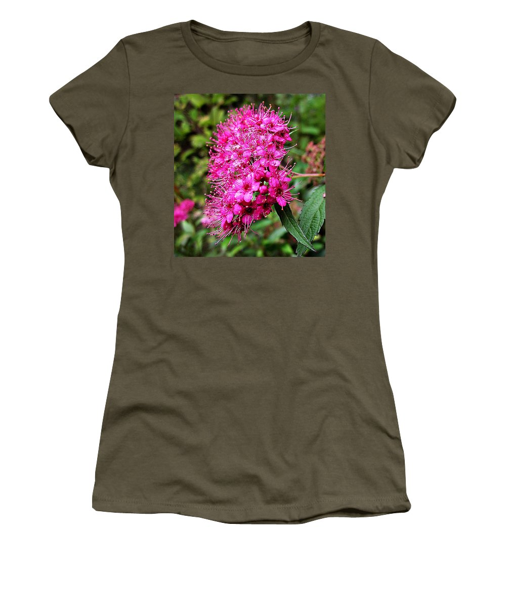 Pink Spirea Women's T-Shirt featuring the photograph Pink Spirea by MTBobbins Photography