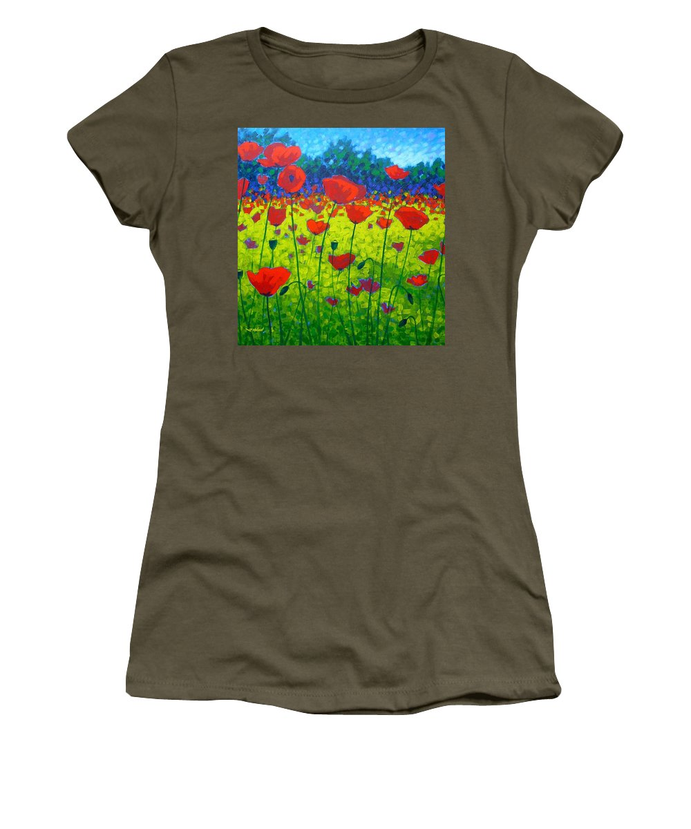 Flowers Women's T-Shirt featuring the painting Poppy Field by John Nolan