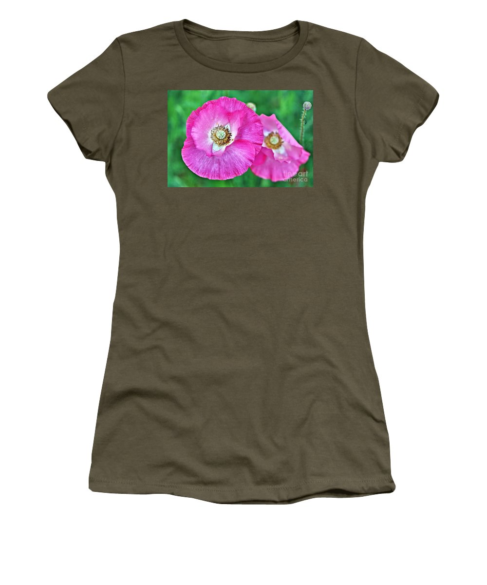 Pink Poppy Women's T-Shirt featuring the photograph Poppy Power by Andrea Kollo