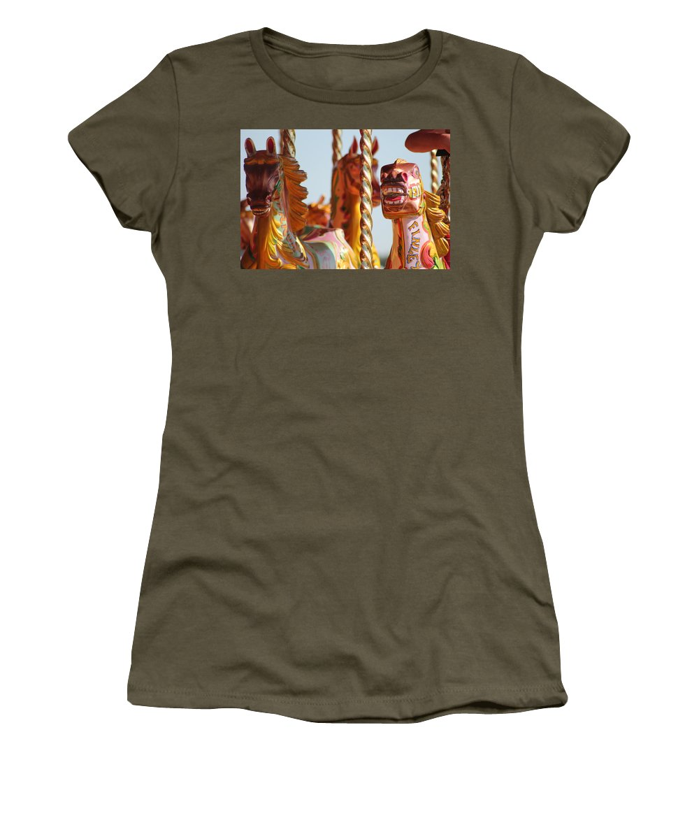 Pretty Women's T-Shirt featuring the photograph Pretty Carousel Horses by Perggals - Stacey Turner
