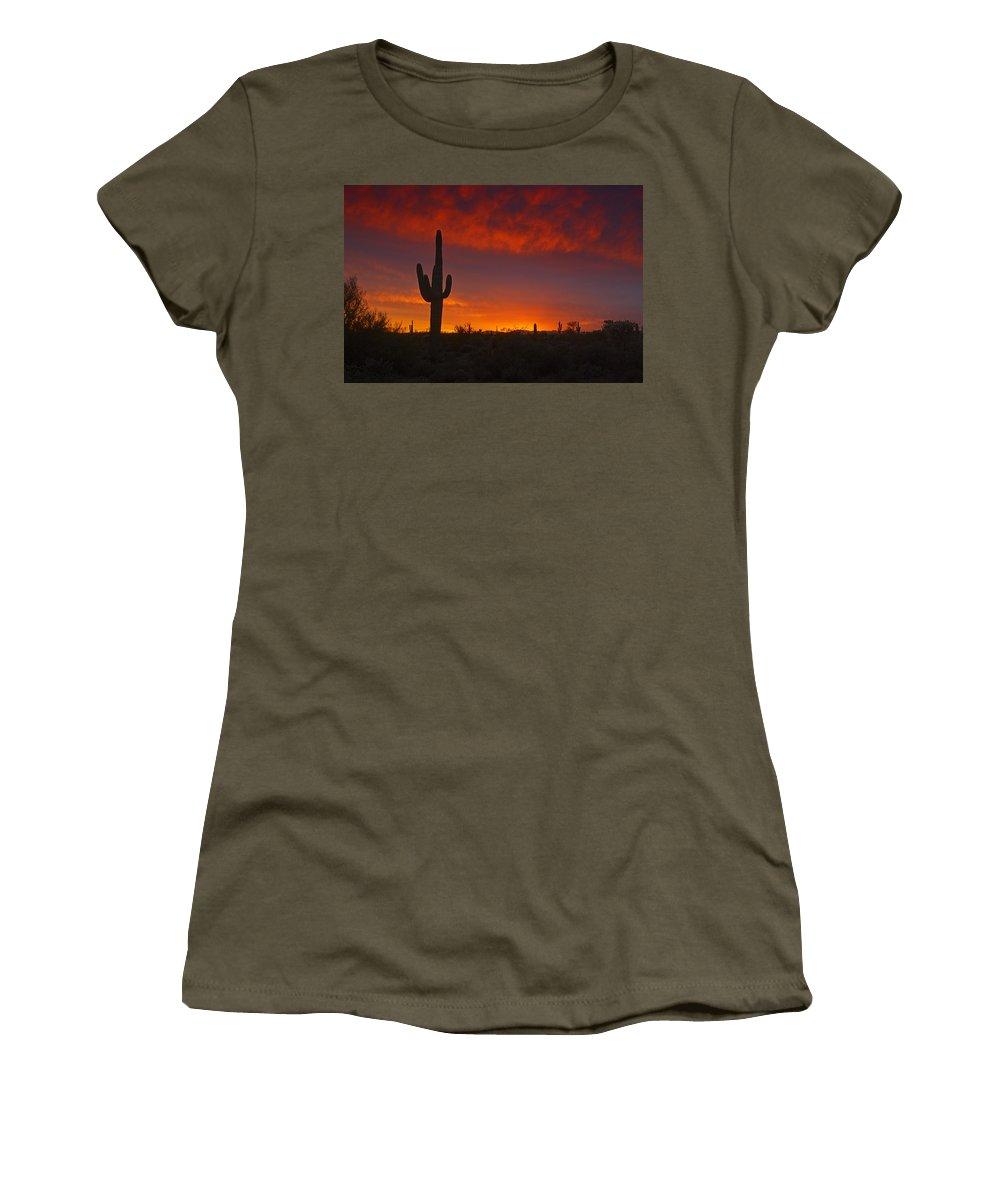 Sunset Women's T-Shirt featuring the photograph Red Desert Skies by Saija Lehtonen