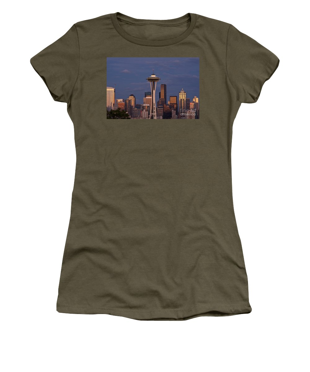 Kerry Park Women's T-Shirt featuring the photograph Seattle Skyline And Space Needle With City Lights by Jim Corwin
