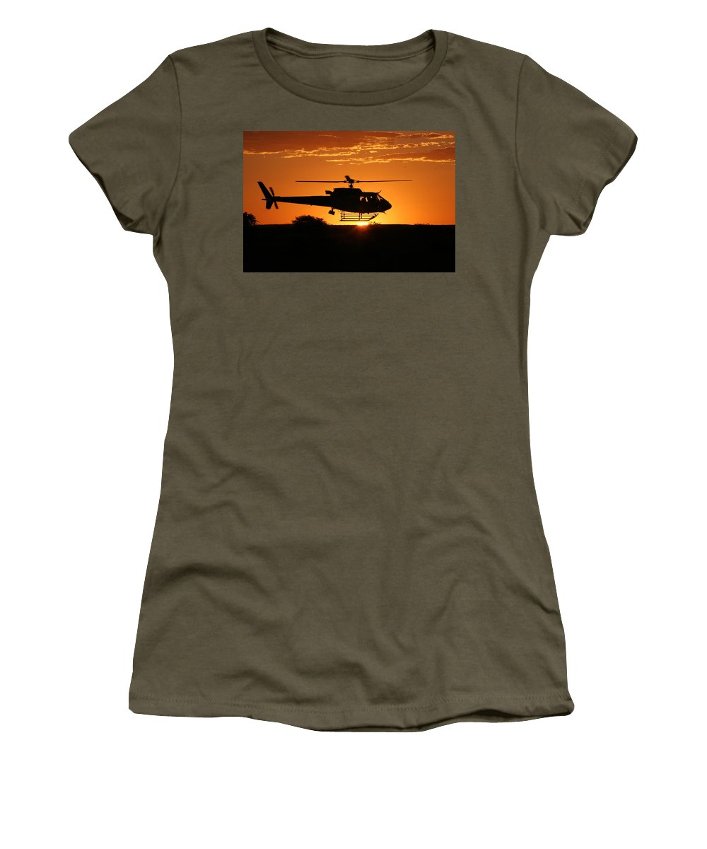 Eurocopter As350 B3 Women's T-Shirt featuring the photograph Silhouette by Paul Job
