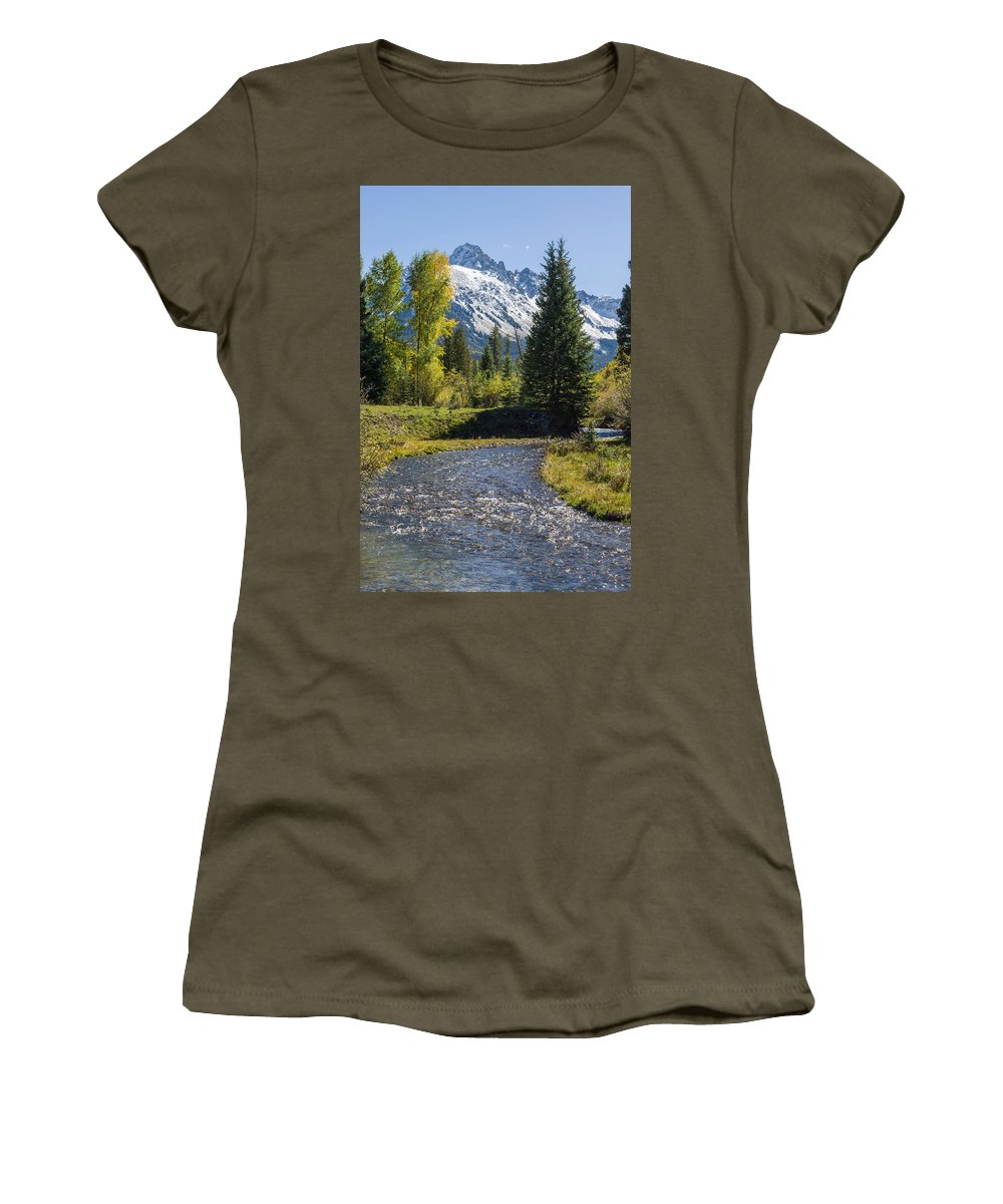 Colorado Photographs Women's T-Shirt featuring the photograph Sneffles And Stream I by Gary Benson