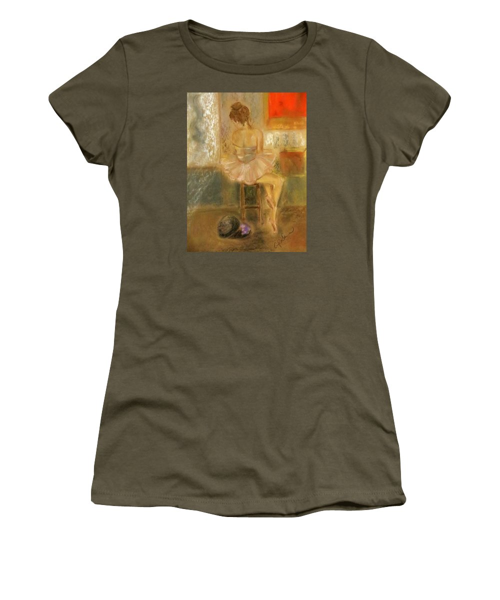Ballet Women's T-Shirt featuring the painting Stage Left by C Pichura