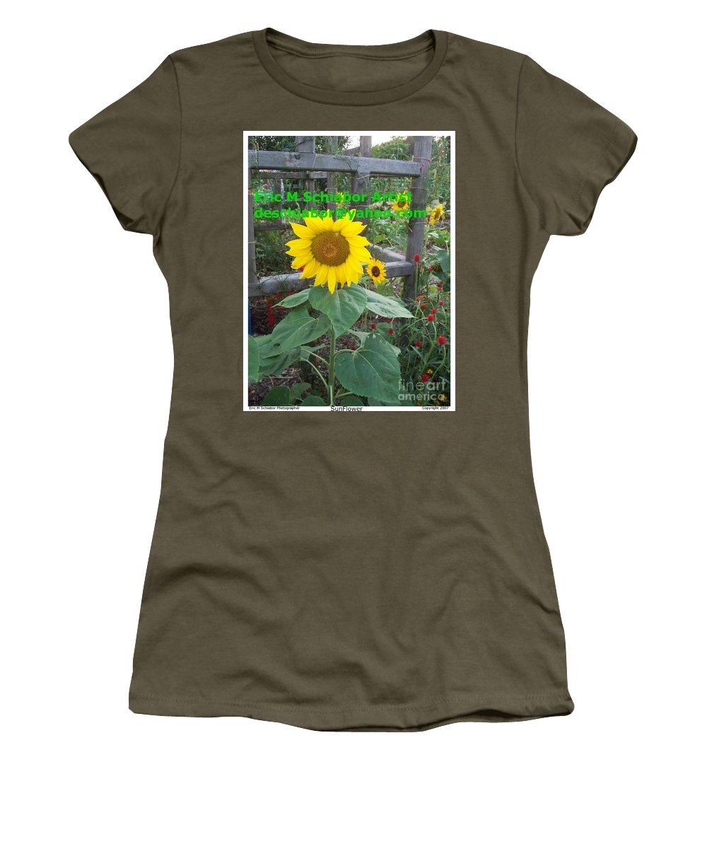 Sunflower Women's T-Shirt (Athletic Fit) featuring the photograph Sunflower by Eric Schiabor