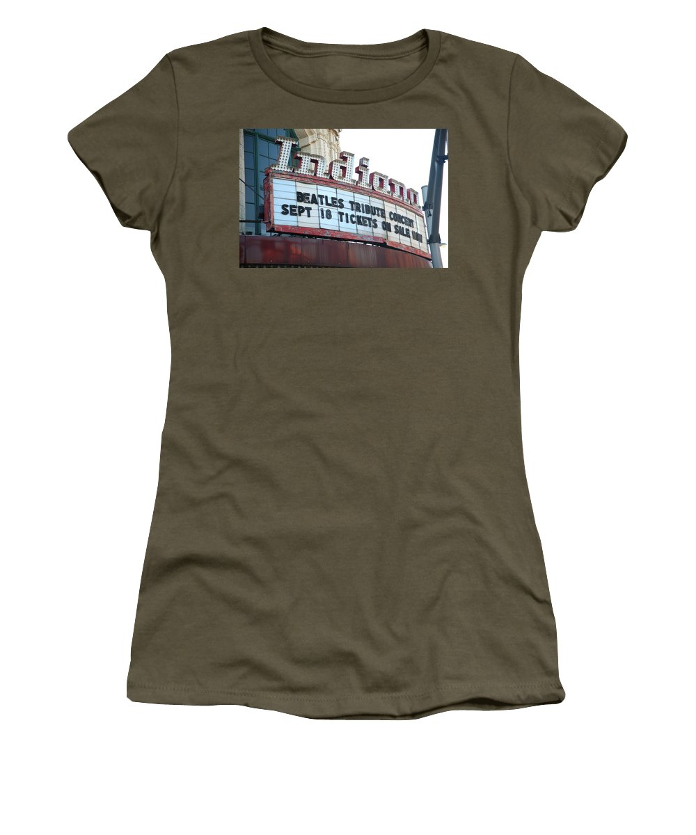 America Women's T-Shirt (Athletic Fit) featuring the photograph Terre Haute - Indiana Theater by Frank Romeo
