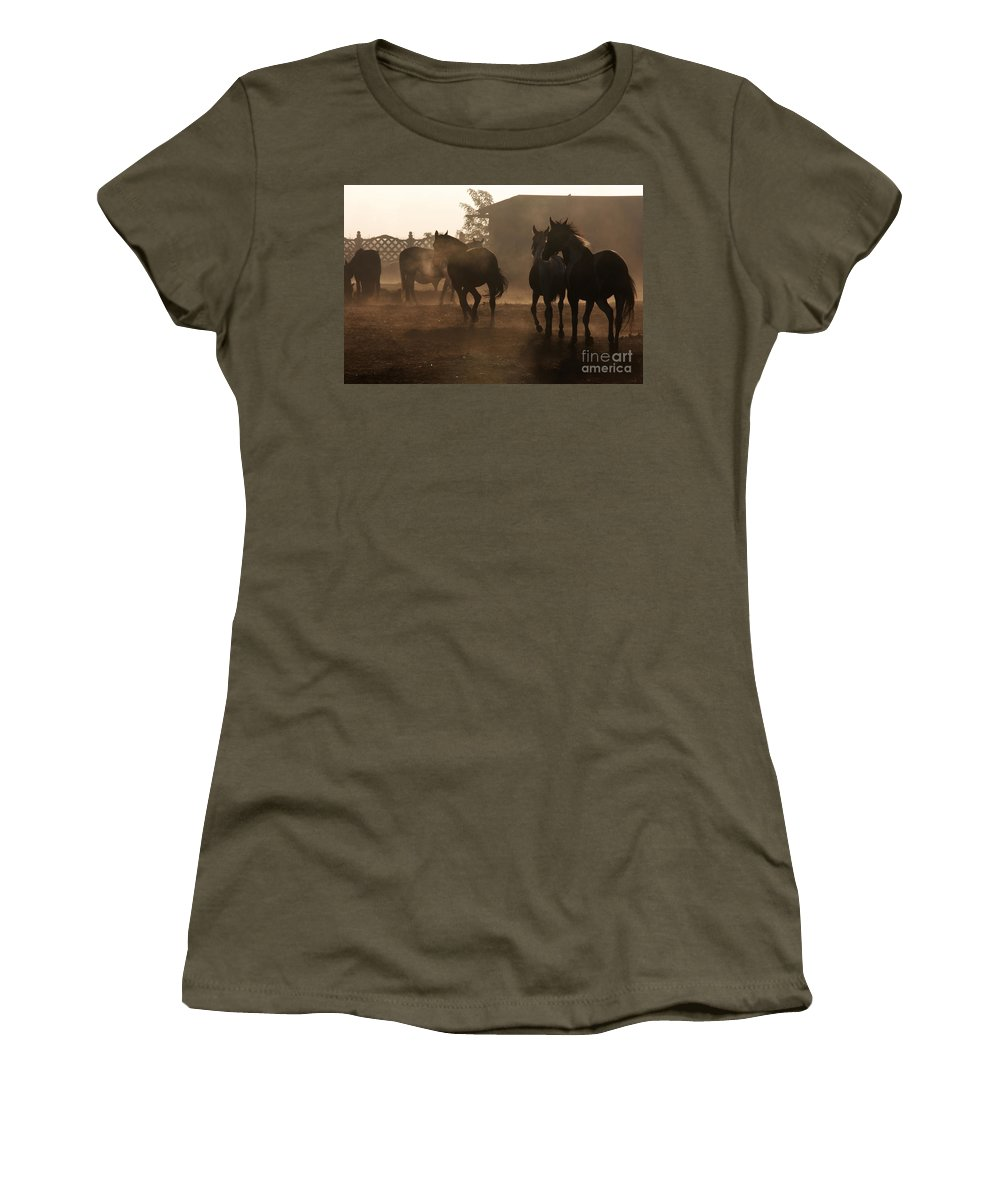 Misty Morning Women's T-Shirt featuring the photograph The Misty Morning by Angel Ciesniarska