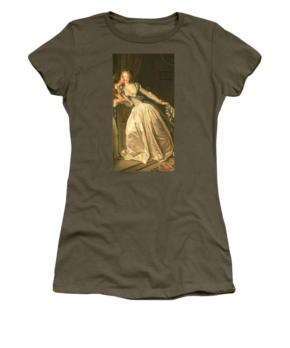 Silk;romance Women's T-Shirt featuring the painting The Stolen Kiss by Jean Honore Fragonard