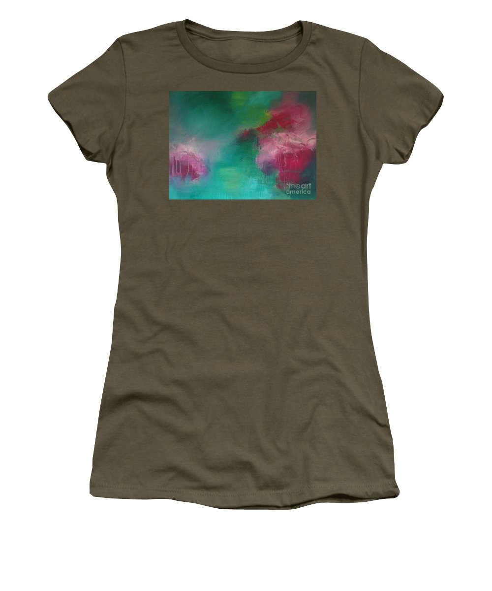 Abstract Women's T-Shirt (Athletic Fit) featuring the painting Trust The Flow by Augusta Lourenco- Dias