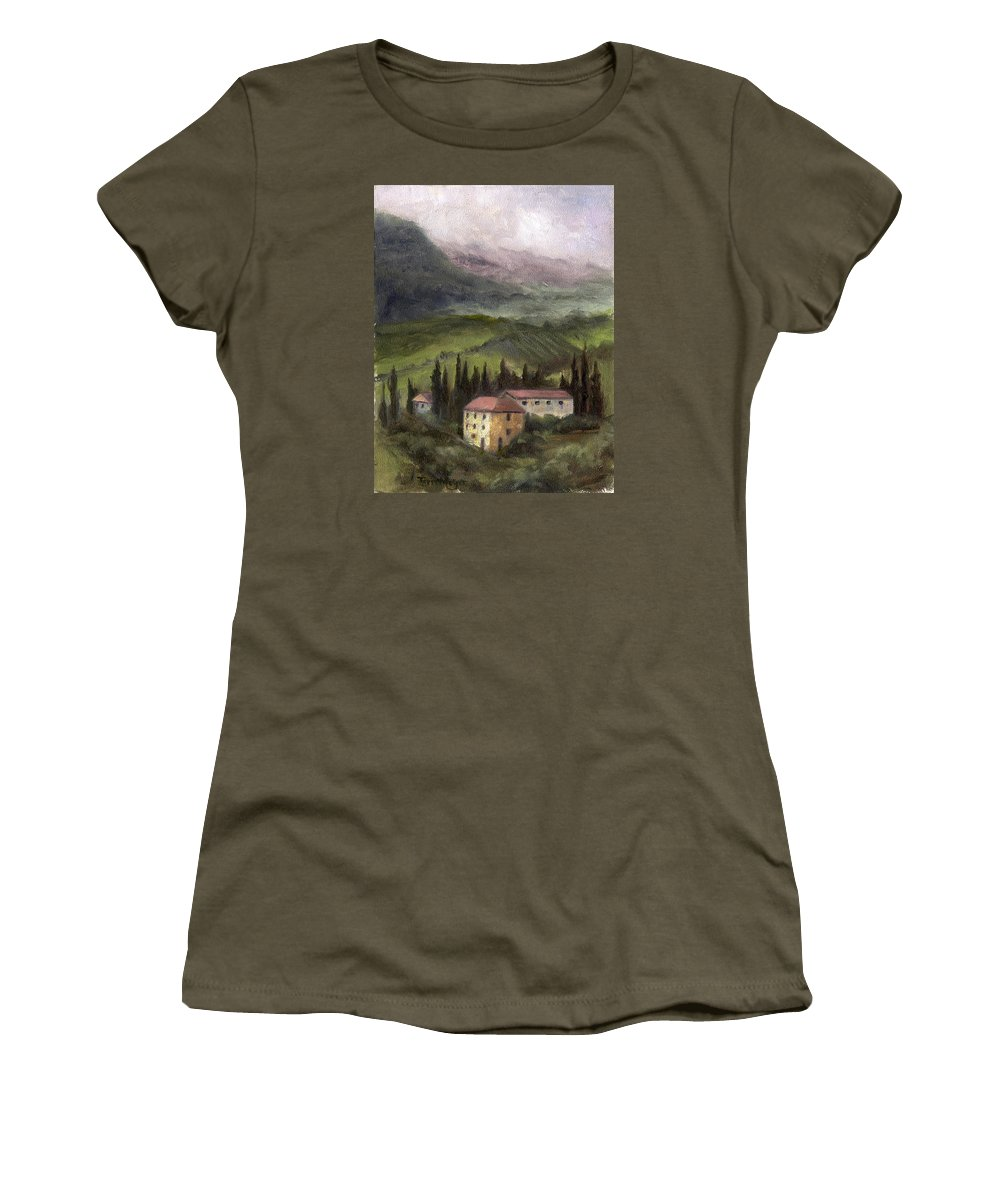 Tuscan Landscape Painting Women's T-Shirt featuring the painting Tuscan Landscape by Terri Meyer