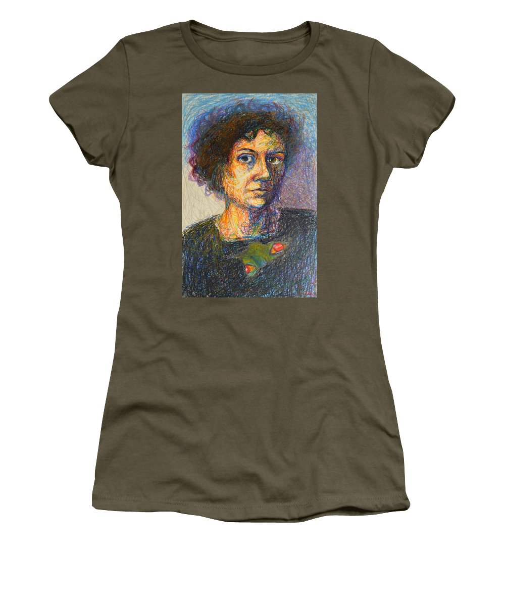 Abstract Modern Outsider Raw Folk Face Mouth Smile Person Eyes Portrait Woman Female Holes Burnt Black Women's T-Shirt featuring the painting Untitled by Nancy Mauerman