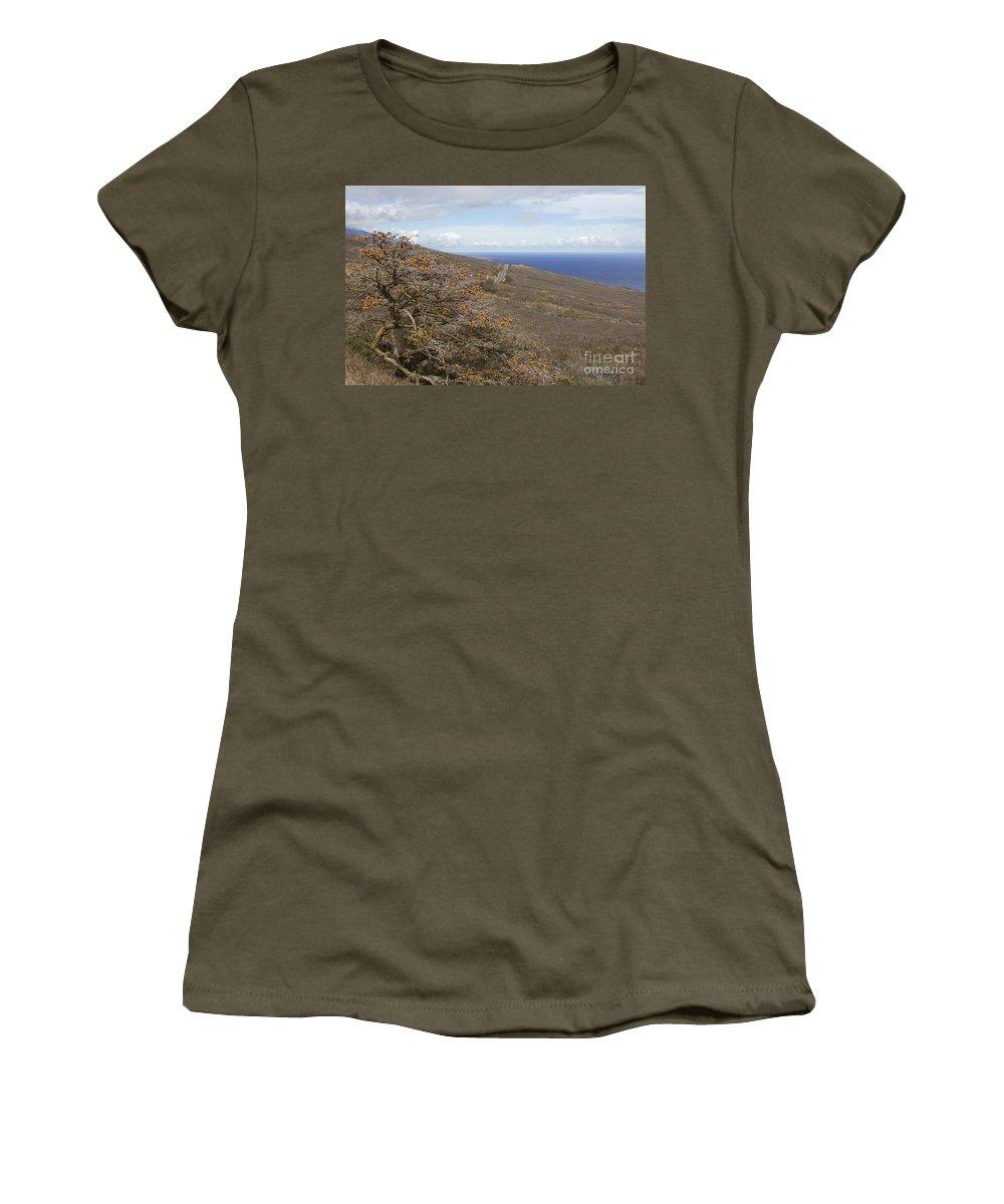 Aloha Women's T-Shirt featuring the photograph Wiliwili Flowers - Erythrina Sandwicensis - Kahikinui Maui Hawaii by Sharon Mau