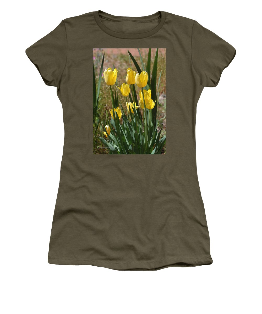 Yellow Tulips At The Arboretum Women's T-Shirt (Athletic Fit) featuring the photograph Yellow Tulips At The Arboretum by Tom Janca