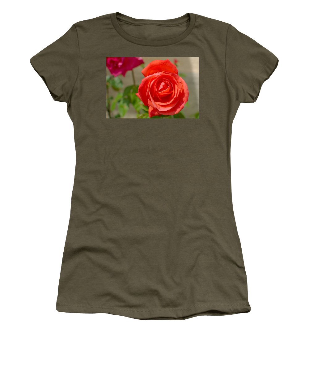 Beautiful Women's T-Shirt featuring the photograph Young Red Rose After Rain by Ferenc Kosa