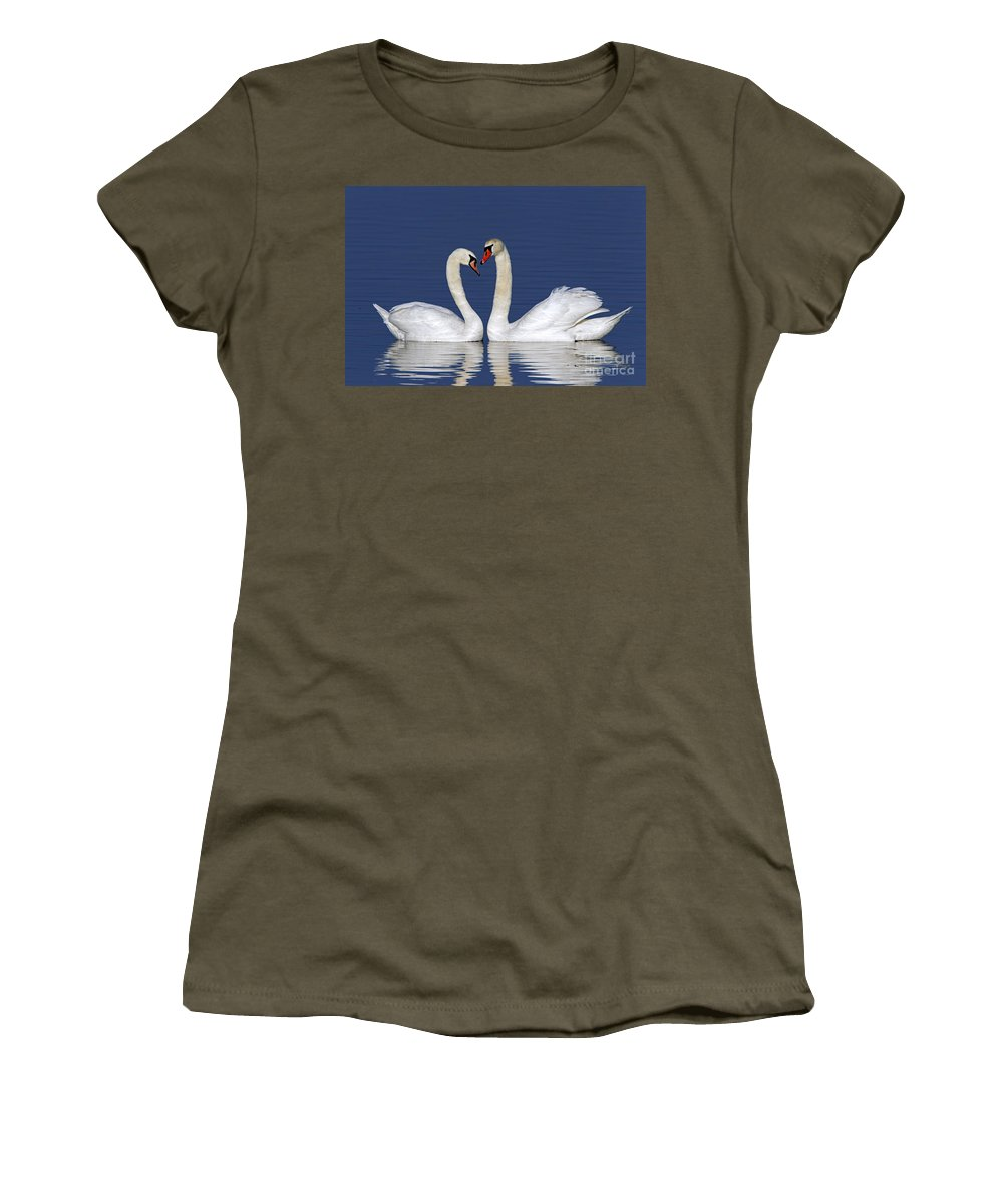 Mute Swan Women's T-Shirt featuring the photograph 110307p053 by Arterra Picture Library