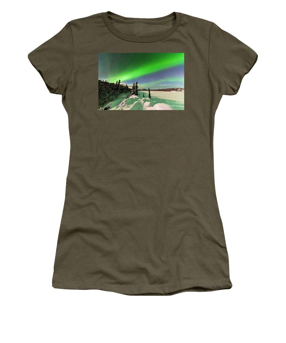 Alaska Women's T-Shirt featuring the photograph Intense Display Of Northern Lights Aurora Borealis by Stephan Pietzko