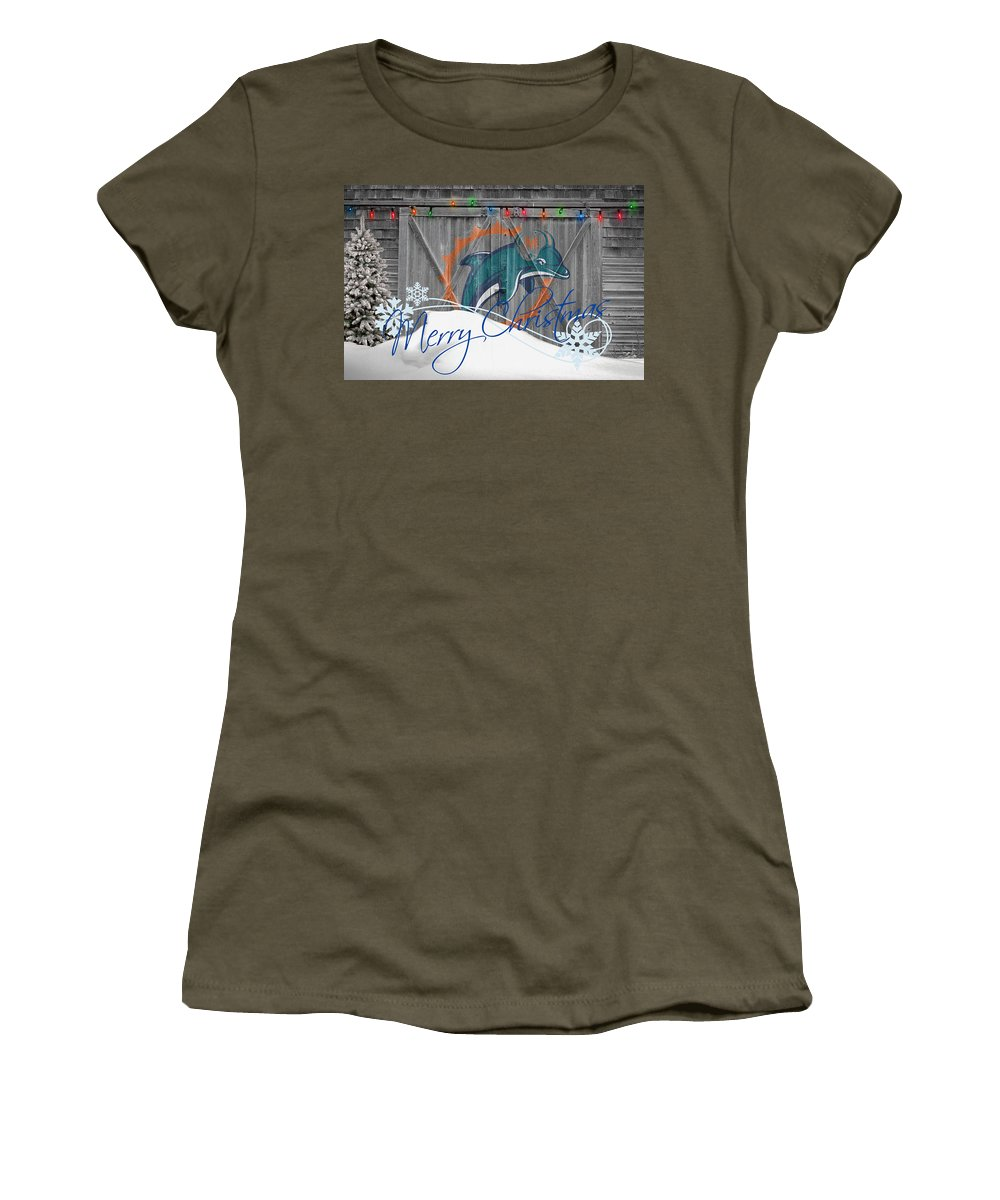 Dolphins Women's T-Shirt (Athletic Fit) featuring the photograph Miami Dolphins by Joe Hamilton