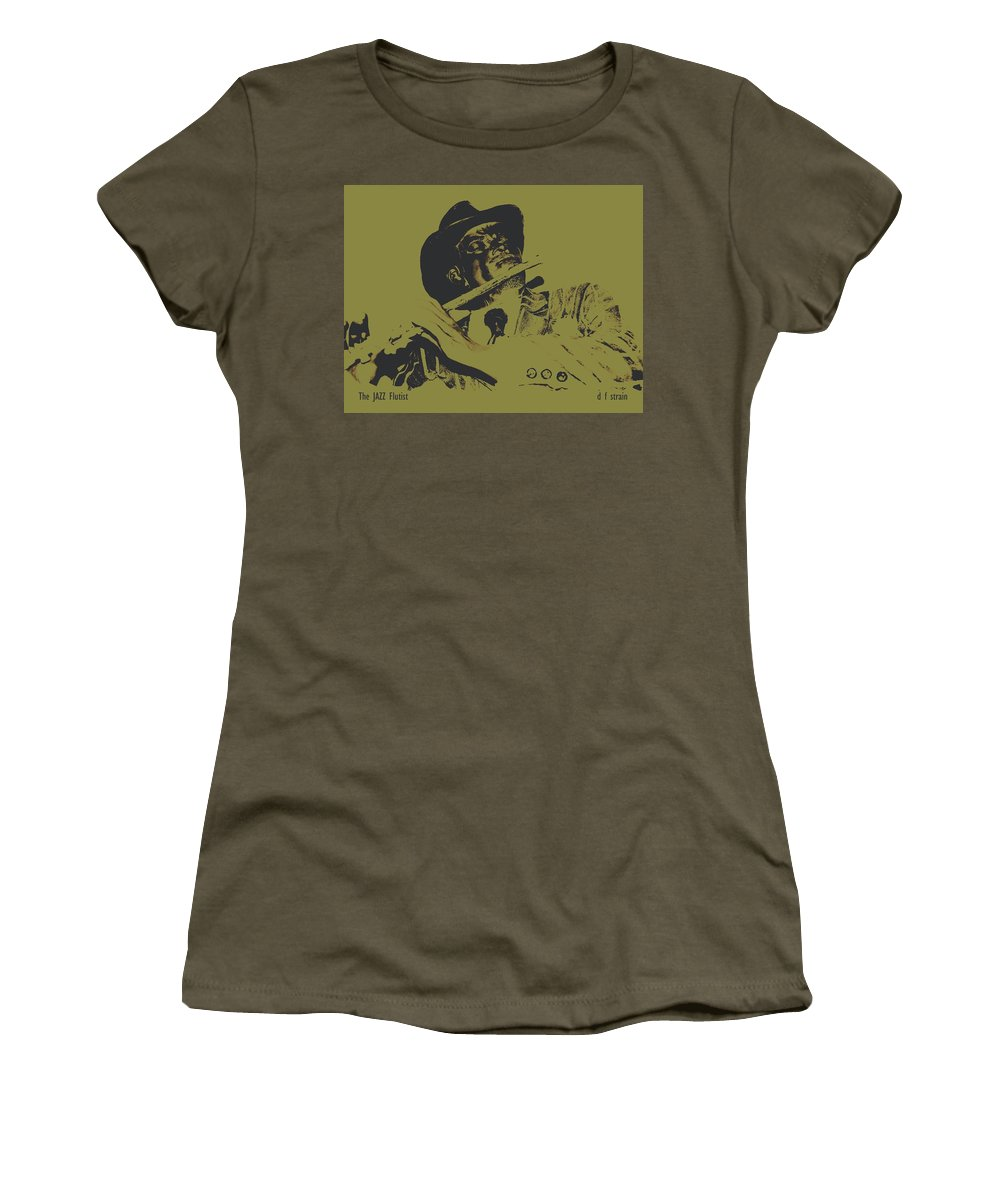 Fineartamerica.com Women's T-Shirt featuring the painting The Jazz Flutist by Diane Strain