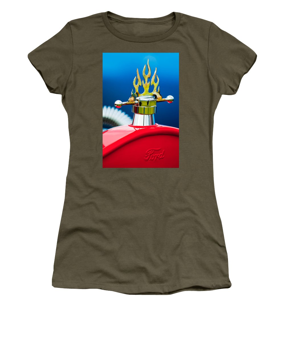 1923 Ford T-bucket Women's T-Shirt (Athletic Fit) featuring the photograph 1923 Ford T-bucket Aftermarket Hood Ornament by Jill Reger