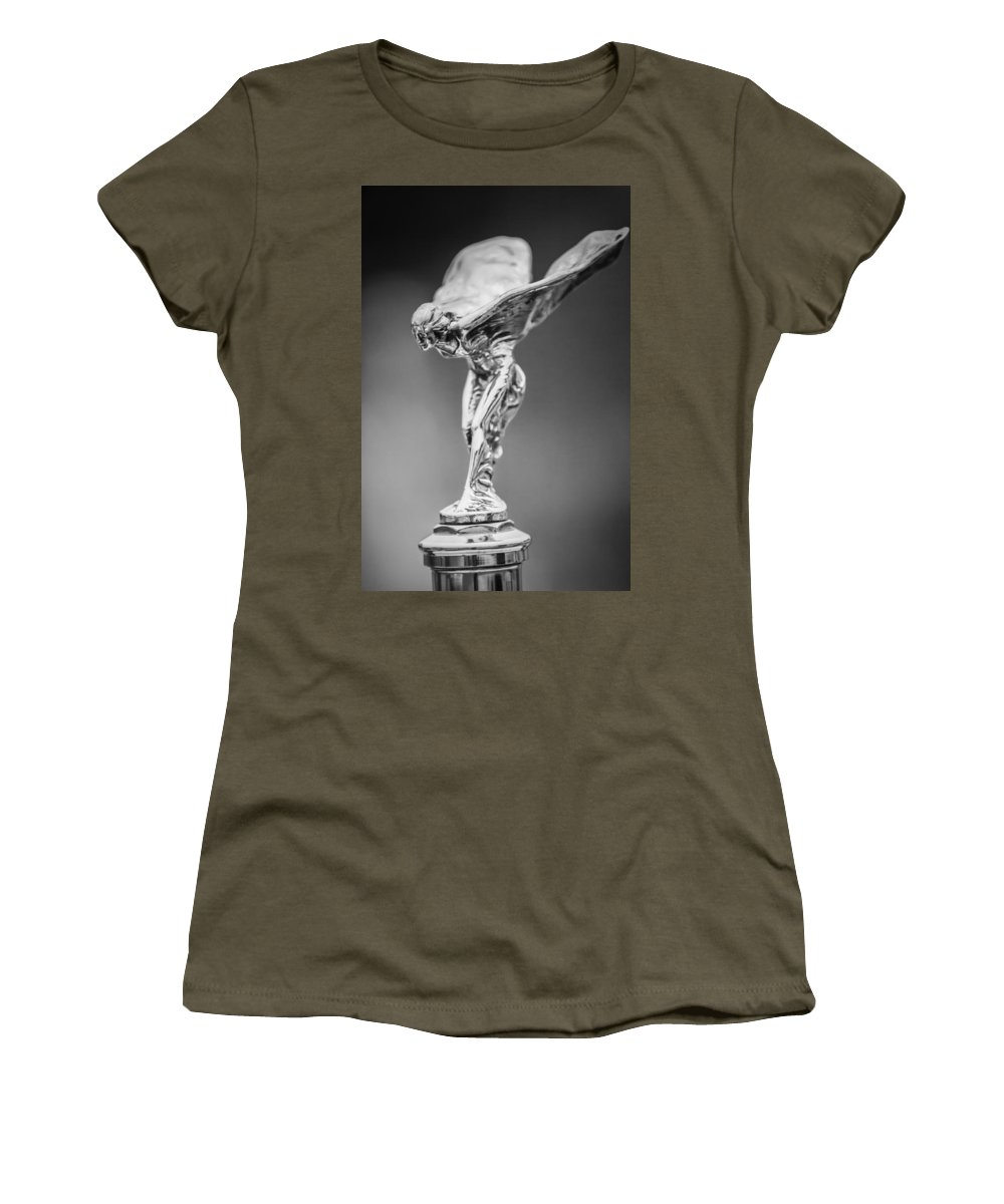 Transportation Women's T-Shirt (Athletic Fit) featuring the photograph 1928 Rolls-royce Phantom 1 Hood Ornament Black And White by Jill Reger