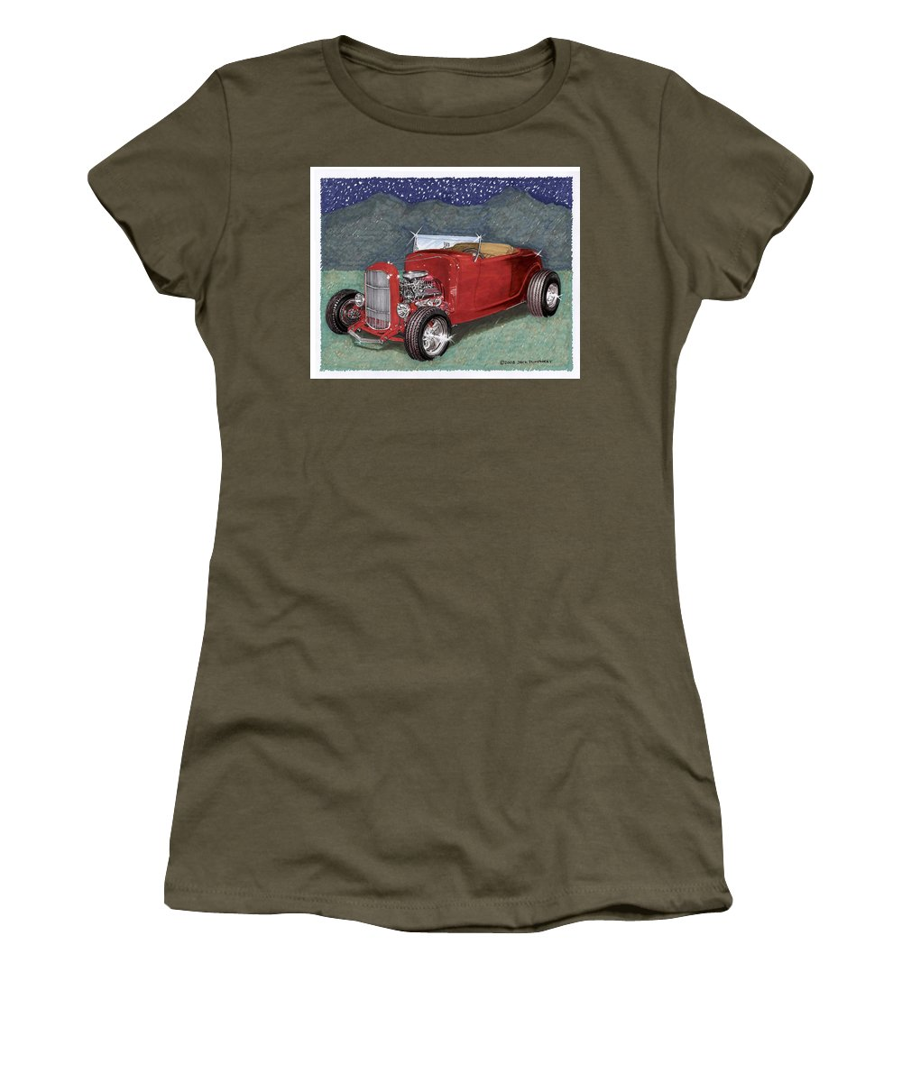 Classic Car Art Women's T-Shirt featuring the painting 1932 Ford High Boy by Jack Pumphrey