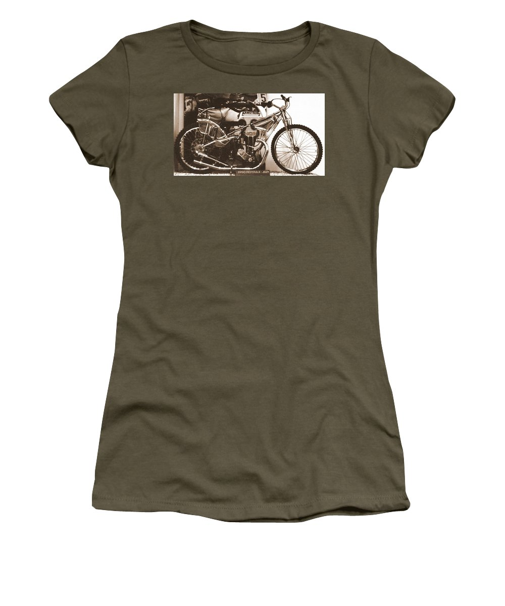 Speedway Women's T-Shirt featuring the photograph 1950 Rotrax-jap by Guy Pettingell