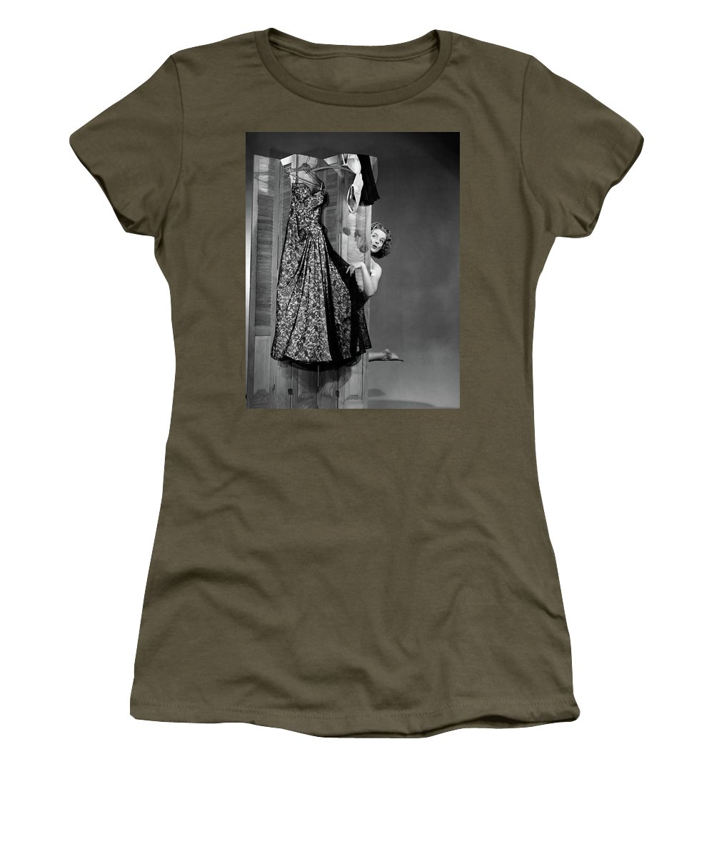 Photography Women's T-Shirt featuring the photograph 1950s Woman Peeking From Behind Screen by Vintage Images
