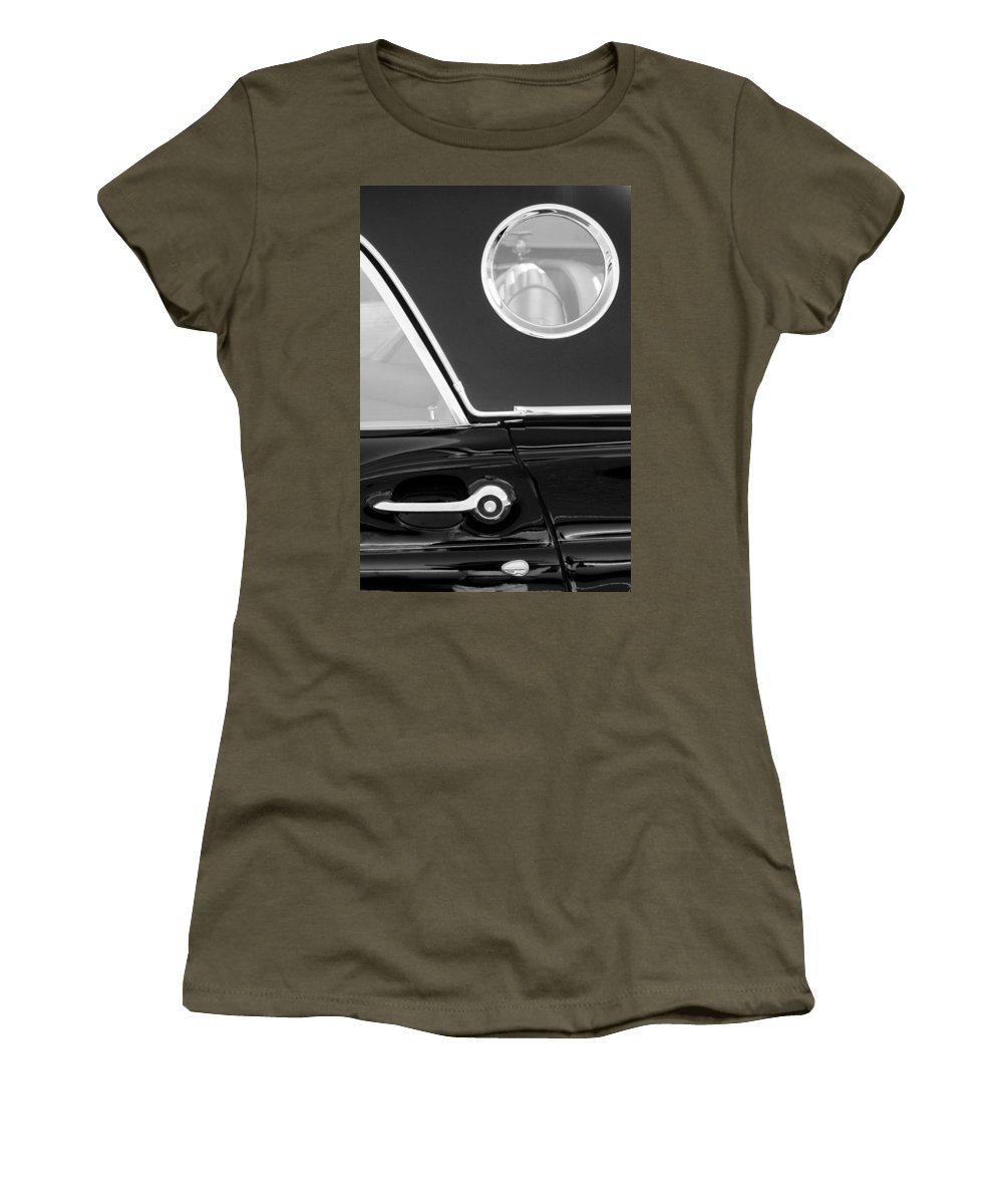 Transportation Women's T-Shirt (Athletic Fit) featuring the photograph 1957 Ford Thunderbird Window Black And White by Jill Reger