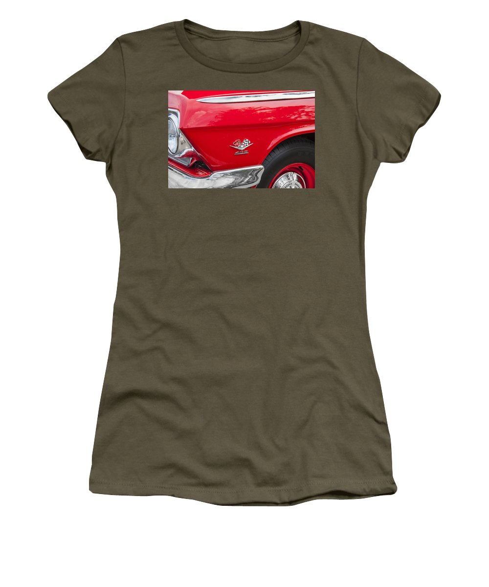 1962 Chevy Women's T-Shirt featuring the photograph 1962 Chevy Impala 409 by Rich Franco