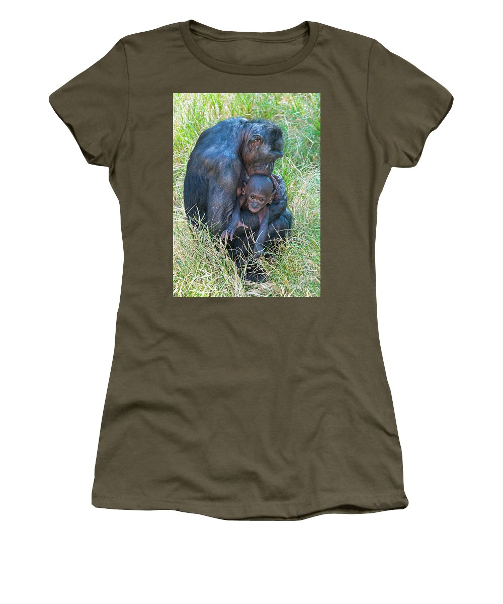 Nature Women's T-Shirt featuring the photograph Bonobo Mother And Baby by Millard H. Sharp