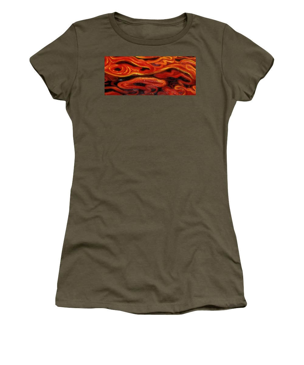 Enio Women's T-Shirt featuring the mixed media Brush Strokes In Red by Genio GgXpress