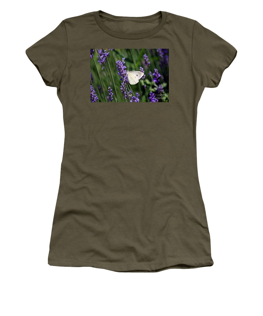 Cabbage White Women's T-Shirt (Athletic Fit) featuring the photograph Cabbage White Butterfly by Karen Adams