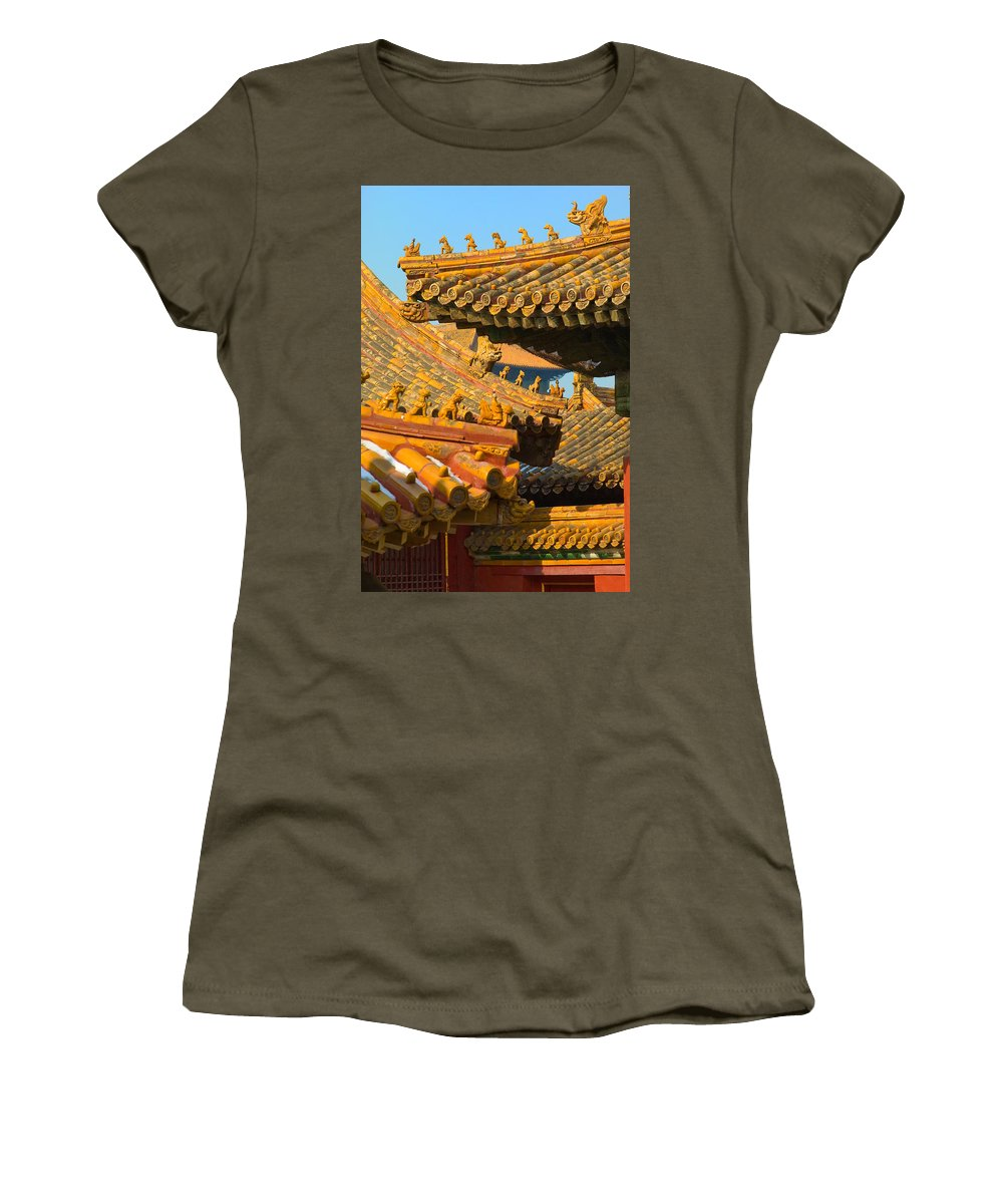 China Women's T-Shirt featuring the photograph China Forbidden City Roof Decoration by Sebastian Musial