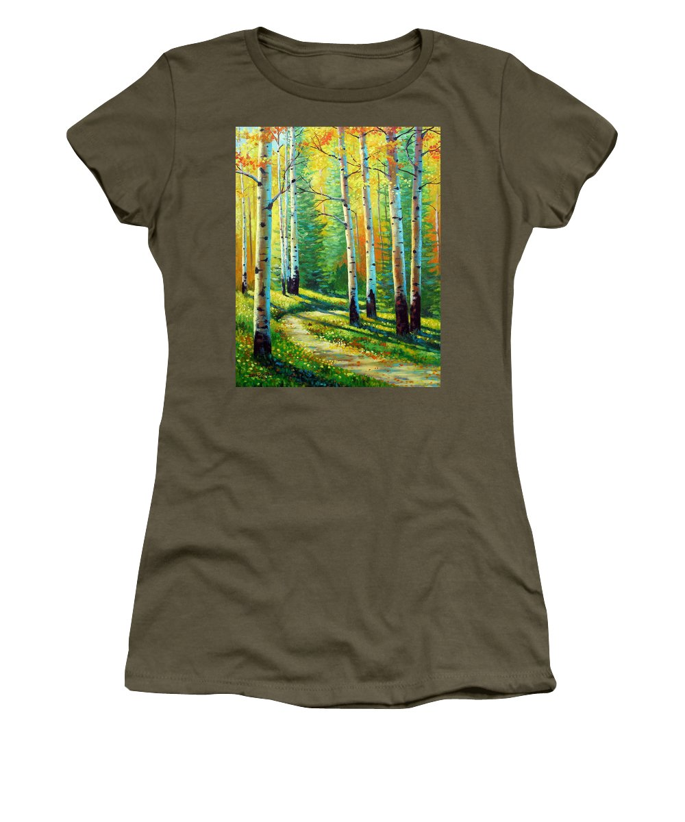 Landscape Women's T-Shirt (Athletic Fit) featuring the painting Colors Of The Season by David G Paul