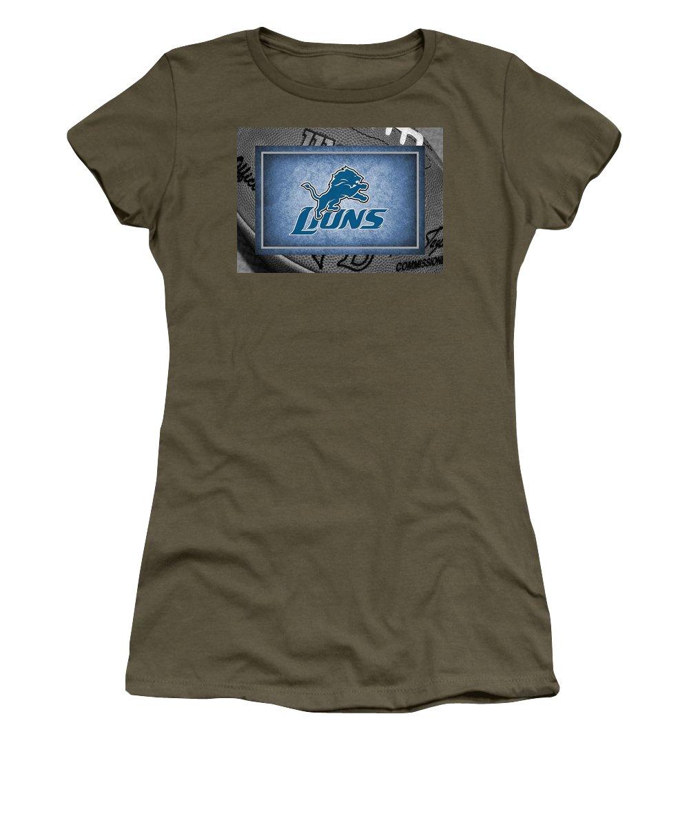Lions Women's T-Shirt featuring the photograph Detroit Lions by Joe Hamilton