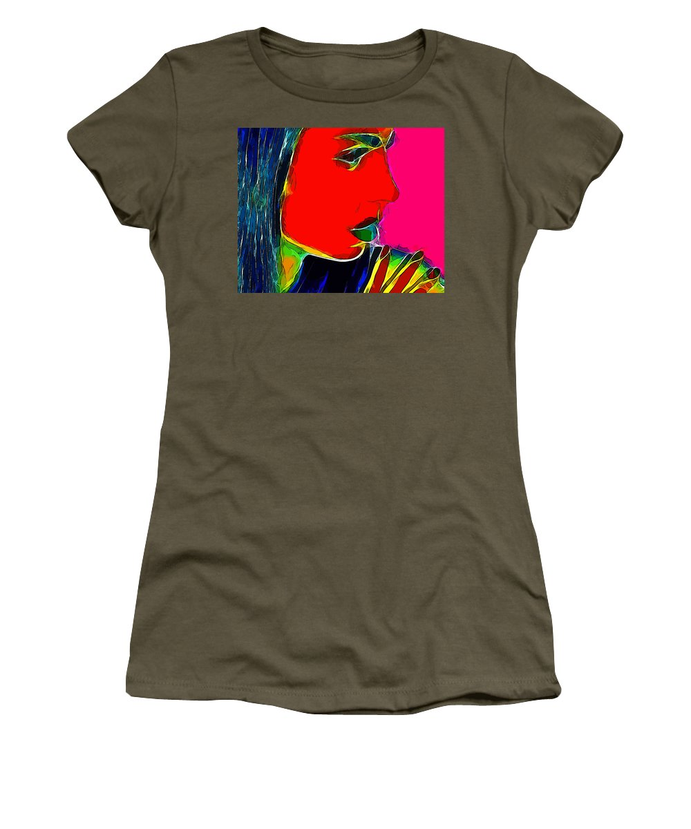 Face Woman Girl Female Beauty Color Colorful Expressionism Portrait Abstract Pop Art Comic Style Women's T-Shirt (Athletic Fit) featuring the painting Facets Of Beauty by Steve K