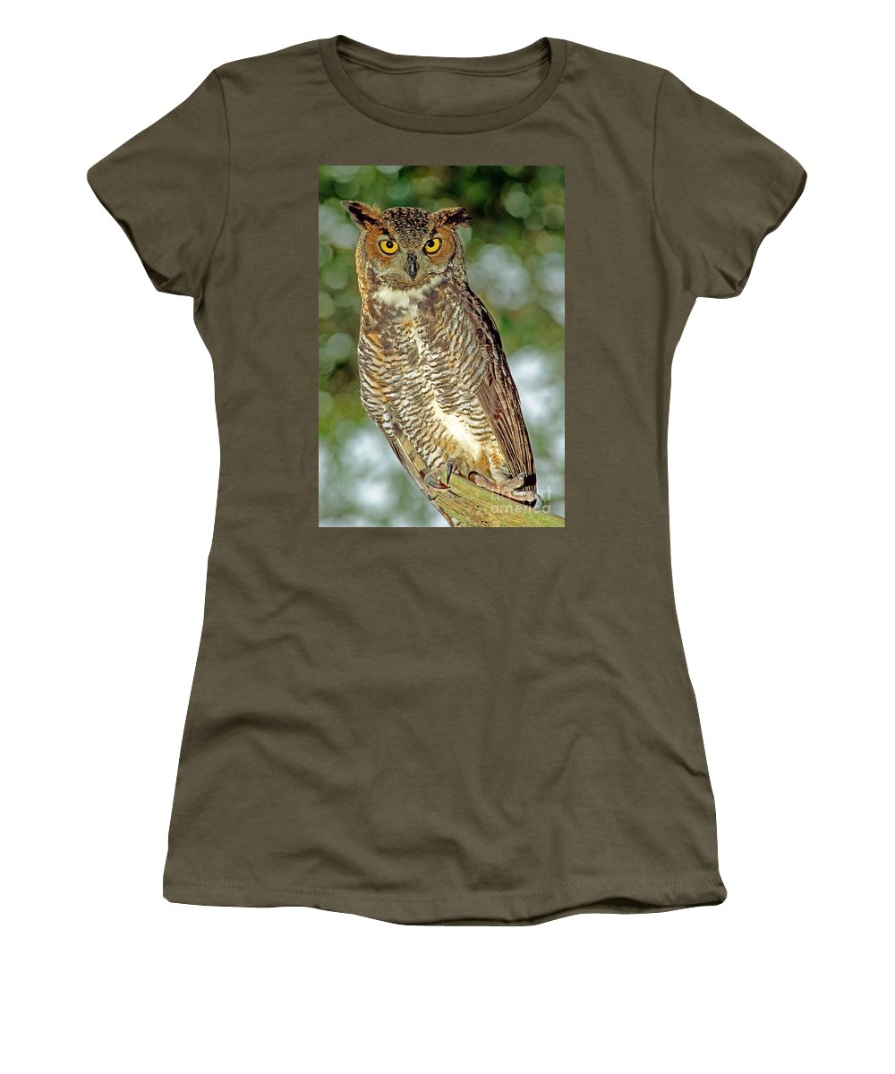 Animal Women's T-Shirt featuring the photograph Great Horned Owl by Millard H. Sharp