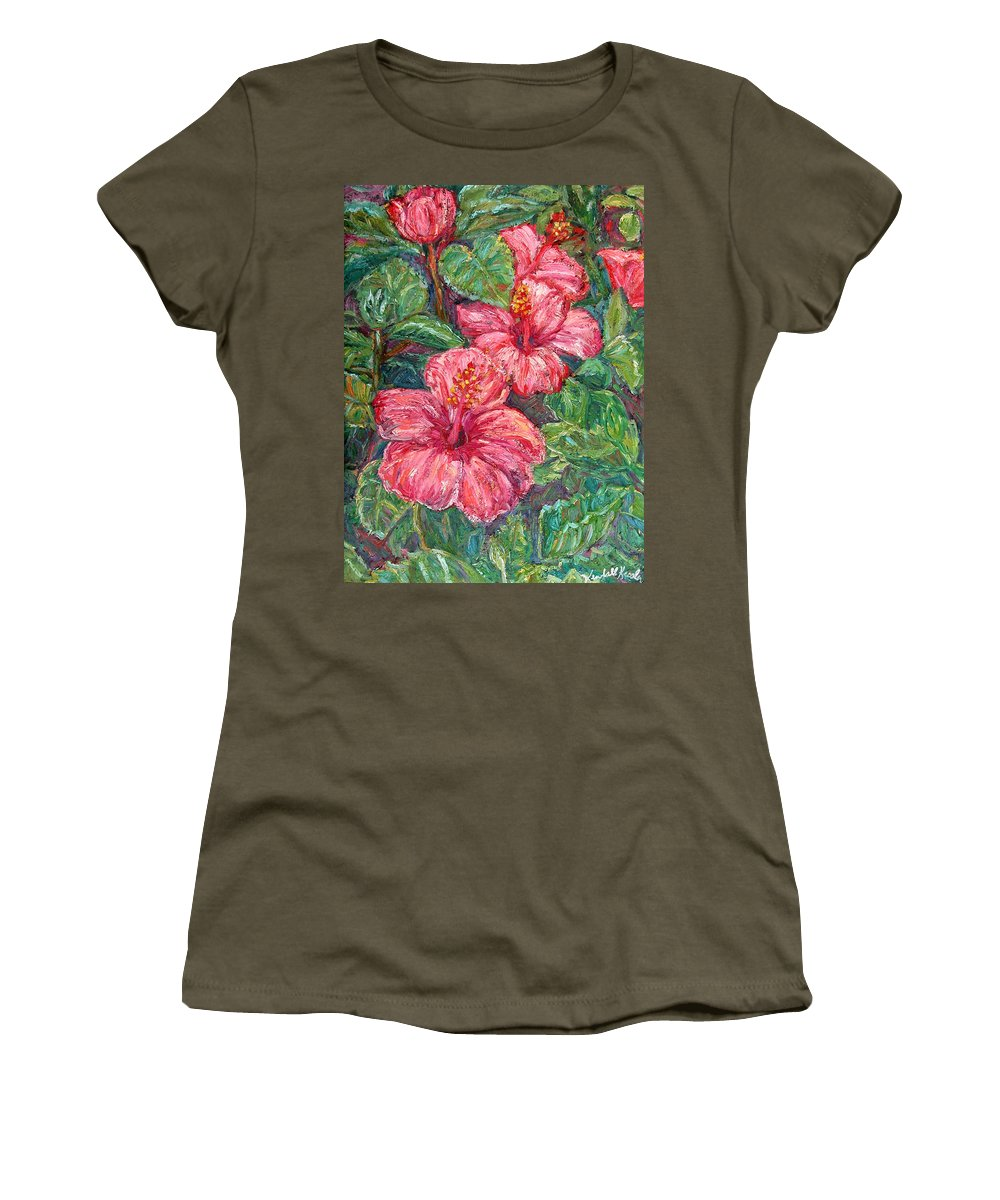 Hibiscus Women's T-Shirt (Athletic Fit) featuring the painting Hibiscus by Kendall Kessler