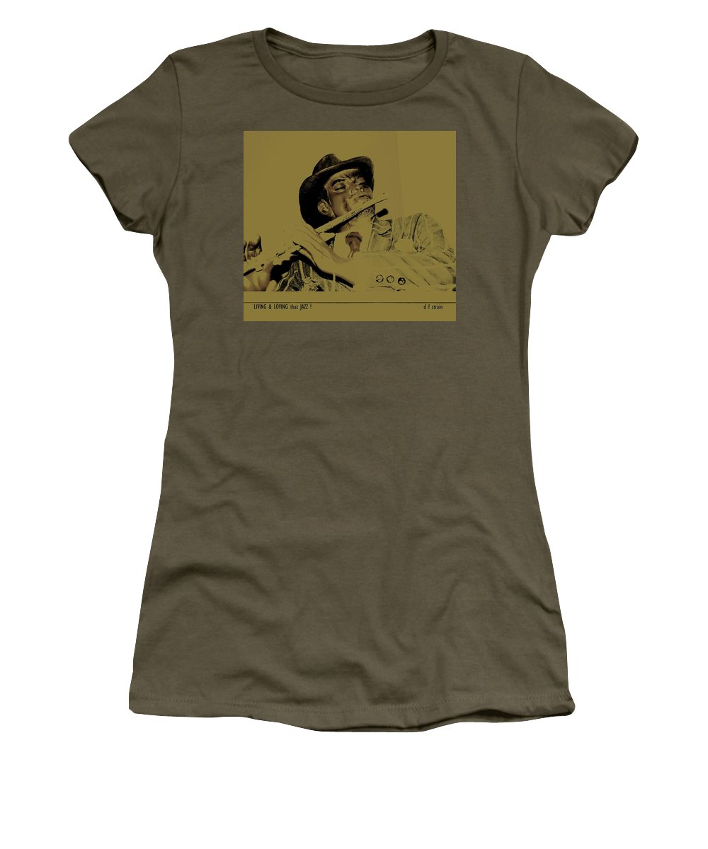 Women's T-Shirt featuring the painting Living And Loving That Jazz by Diane Strain