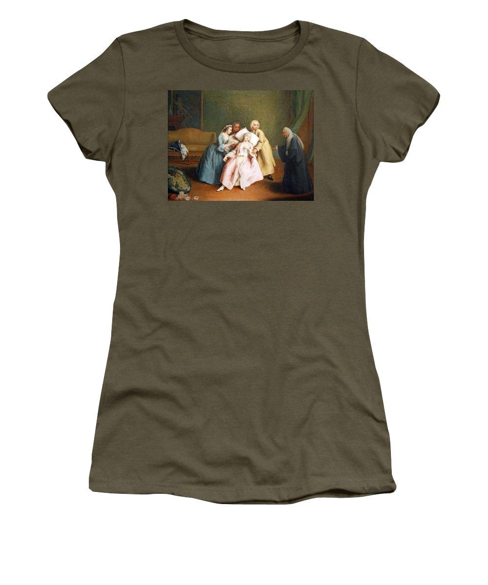 The Stimulated Faint Women's T-Shirt featuring the photograph Longhi's The Stimulated Faint by Cora Wandel
