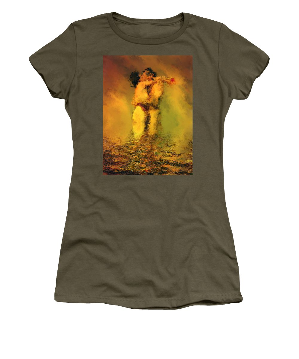 Nudes Women's T-Shirt featuring the photograph Lovers by Kurt Van Wagner
